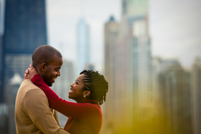 Editorial Chicago Couples Photography at North Ave Pier: Julius and Miriam