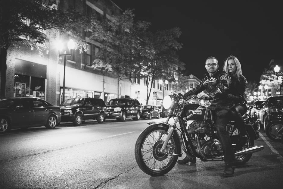 Editorial Engagement Couple: Triumph Motorcycle Shoot